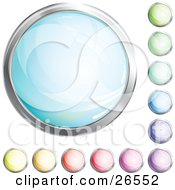 Collection Of Shiny Blue Green Purple Pink Red Orange And Yellow Internet Buttons