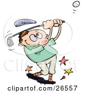 Clipart Illustration Of A Male Caucasian Athlete Knocking His Hat Off As He Whacks A Golf Ball With A Club by gnurf #COLLC26557-0050