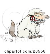 Clipart Illustration Of A Hungry Drooling Wolf In Sheeps Clothing Symbolizing Fraud Evil And Deceit by gnurf