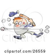 Clipart Illustration Of A Male Caucasian Athlete Knocking His Hat Off As He Whacks A Baseball With A Bat During A Game by gnurf #COLLC26559-0050