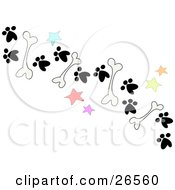 Clipart Illustration Of A Trail Of Dog Bones Stars And Paw Prints On The Ground