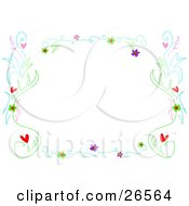 Clipart Illustration Of A Stationery Border Of Twirly Vines With Pink Green And Purple Flowers And Hearts Over White by bpearth
