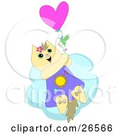 Clipart Illustration Of A Happy Cat Holding Onto A Balloon And Floating Above The Clouds In The Sky by bpearth