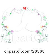 Clipart Illustration Of A Stationery Border Of A Red Heart With Flourishes Over Borders Of Plants With Hearts And Flowers by bpearth