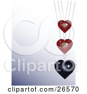 Clipart Illustration Of A Sparkling Blue Disco Heart Pendant On A Necklace Suspended Under Two Red Hearts Over A Gradient Background