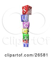 Clipart Illustration Of A Stack Of Colorful Toy Alphabet Blocks Spelling Out Success by AtStockIllustration