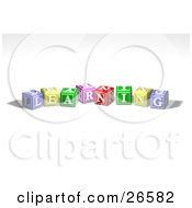 Clipart Illustration Of A Row Of Colorful Red Yellow Green Pink And Red Toy Alphabet Blocks Spelling Out LEARNING