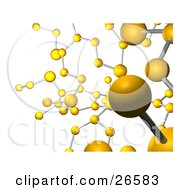 Background Of Yellow Molecules Connected By Silver Bars Over White
