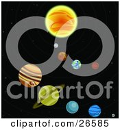 Clipart Illustration Of Various Colorful Planets Circling Around A Sun In A Solar System In Outer Space