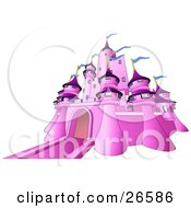 Clipart Illustration Of A Pink Fairy Tale Castle With Blue Flags Waving From The Towers Over White by AtStockIllustration