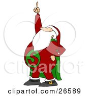 Clipart Illustration Of Super Santa Wearing A Red Suit With A Green Cape Pointing Upwards
