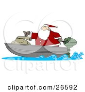Clipart Illustration Of Santa Pointing Forward While Transporting His Toy Sack In A Motor Boat