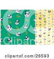 Group Of Green Yellow And Tan Backgrounds Of Panda Bear And Bamboo Patterns