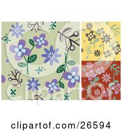 Clipart Illustration Of A Group Of Green Yellow And Red Floral Backgrounds With Purple Brown And Pink Flowers