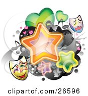 Clipart Illustration Of A Group Of Stars Female Silhouettes Beverages Film Hearts Music Notes And Theater Masks