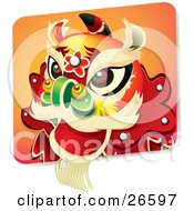 Clipart Illustration Of A Chinese New Year Lion Dance Head Costume With Green Red And Black Eyes And A Green Nose