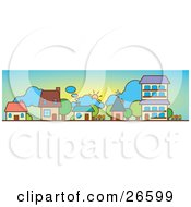 Clipart Illustration Of Three Houses A Church And Apartment Building On A Neighborhood Street On A Sunny Day
