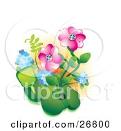 Clipart Illustration Of A Unique Home Made Of A Mound Of Grass With Two Pink Flowers In A Garden by NoahsKnight #COLLC26600-0064