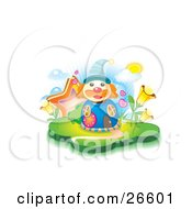 Clown Shaped Blue House With Circular Windows Hearts Stars And Flowers On A Sunny Day