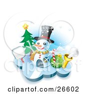 Clipart Illustration Of A Winter Home In The Shape Of A Snowman Wearing A Hat With A Sign Tree Candycane And Bauble