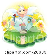 Poster, Art Print Of Heart Shaped Angel House With A Mushroom Chimney And Flowers On The Sides