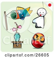 Carp Fish Kite Sheet Ghost Sakura Bonsai And Toy Doll On A Pale Green Background