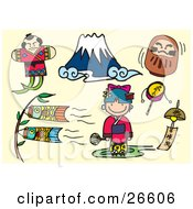 Clipart Illustration Of A Fighting Japanese Kite Mount Fuji Doll Carp Kites Bell Girl And Toys Over A Tan Background