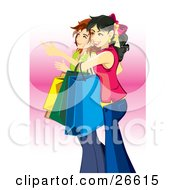 Clipart Illustration Of A Couple Of Young Teen Caucasian Girls Carrying Bags And Shopping