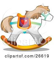Clipart Illustration Of A White Rocking Horse Unicorn With Brown Hair And A Heart Saddle
