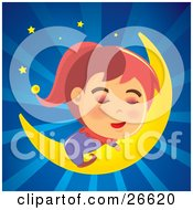 Relaxed Girl In Pajamas Sleeping Soundly On A Crescent Moon In A Bursting Blue Night Sky