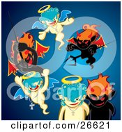 Clipart Illustration Of A Group Of Black Evil Devils Attacking Innocent Angels With Pitchforks Over Blue