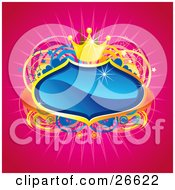 Clipart Illustration Of A Blue Crest With Golden Borders And A Crown Over A Star Heart And Circle Background On Pink
