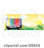 Clipart Illustration Of A Large Flat Screen Tv With Colorful Bars On The Monitor With Wings Nestled In Yellow Flowers In A Landscape Of Rolling Hills And Paths