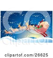 Santa And His Toy Sack In His Sleigh Being Transported By Magical Reindeer On A Snowy Night