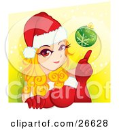 Clipart Illustration Of A Sexy Blond Woman In Red Gloves A Dress And A Santa Hat Poingint To A Green Christmas Bauble