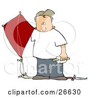 Clipart Illustration Of A White Boy In A Hat And Casual Clothes Standing Outdoors With A Red Kite On A Windy Day