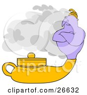 Clipart Illustration Of A Genie Emerging From A Golden Lamp Waiting For His Master To Ask For His Three Wishes