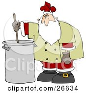 Santa Claus In A Chefs Jacket And His Christmas Uniform Stirring A Pot Of Stew