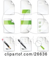Clipart Illustration Of A Collection Of Nine Letters And Files With Check Lists Magnifying Glasses Pens And Pencils