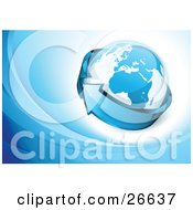 Clipart Illustration Of A Blue Arrow Circling Around Planet Earth Over A Blue And White Background