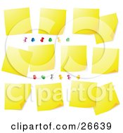 Clipart Illustration Of A Bulletin Board Covered In Blank Yellow Sticky Notes And Colorful Push Pins