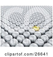 Clipart Illustration Of A Shiny Yellow Ball Standing Out In A Crowd Of Silver Balls by KJ Pargeter