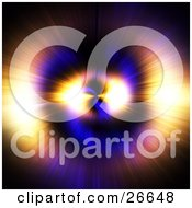 Clipart Illustration Of A Bursting Purple Blue Pink Yellow And Orange Light Resembling An Eye