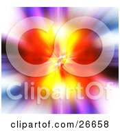 Clipart Illustration Of A Burst Of Orange And Yellow Over A Colorful Background