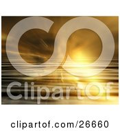 Clipart Illustration Of A Bright Burst Of Light Over Rippled Water With Fog Effects