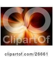 Clipart Illustration Of Yellow And Orange Beams Of Light Bursting Over A Black Background