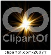 Clipart Illustration Of A Bursting Orange Light In A Black Sky