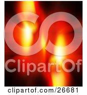 Clipart Illustration Of A Burst Of Blurred Orange And Red Light Over A Black Background