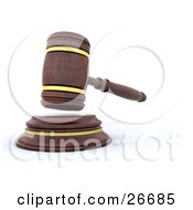 Clipart Illustration Of A Wooden Judges Gavel Hitting The Block by KJ Pargeter