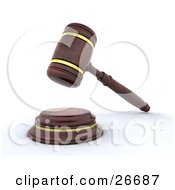 Clipart Illustration Of A Wooden Judges Gavel Banging Down On The Block by KJ Pargeter